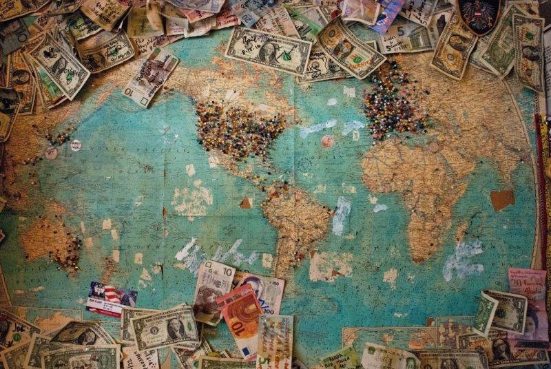 world map with money