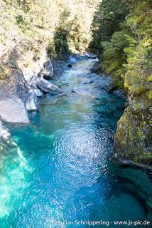 View on the Haast blue pools