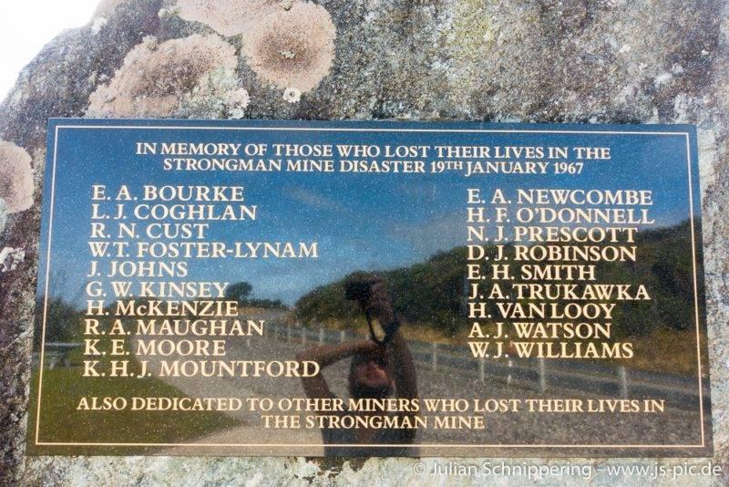 Strongman mine memorial sign