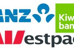 Logos der drei großen Neuseeländischen Banken ANZ, Kiwibank und Westpac