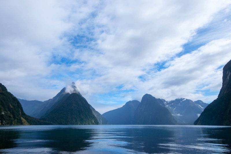 View to Mitre Peak at Milford Sound