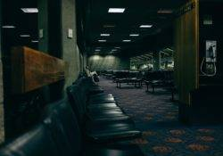 View in a dark waiting area at the airport