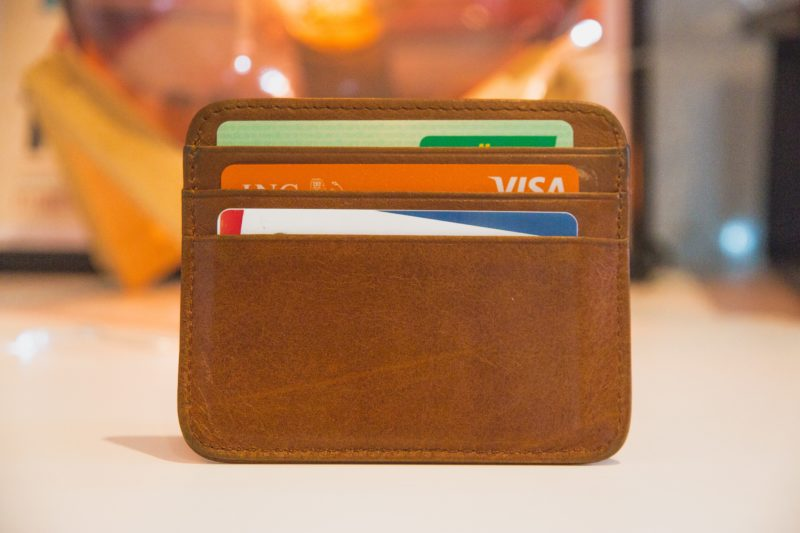 View of different credit cards