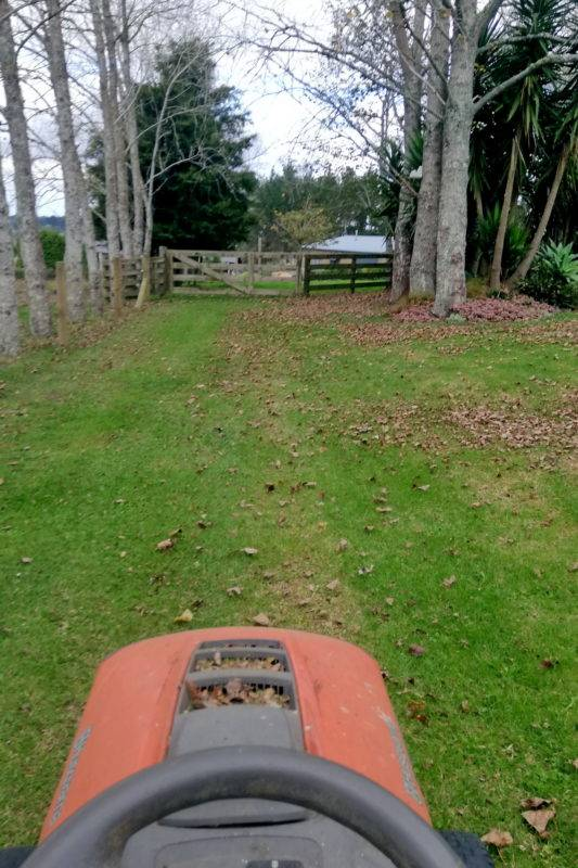 Lawn mower view from the driver seat