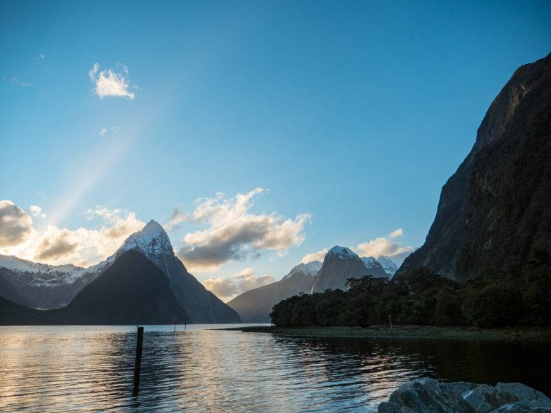 Milford sound during sundown