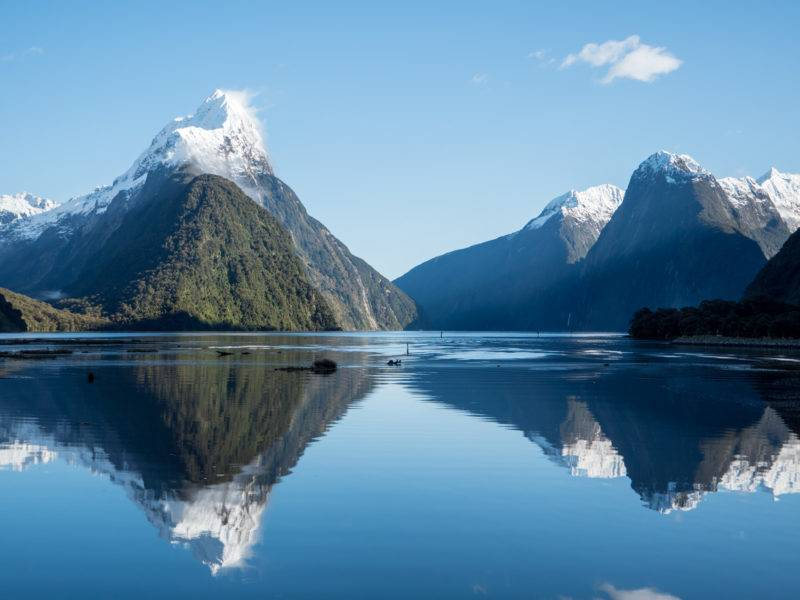 Milford Sound with the reflection of Mitre Peak