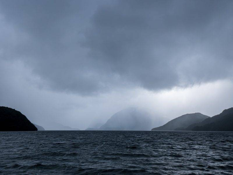 Doubtful Sound and rain clouds