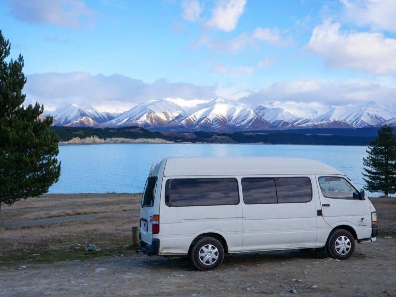 My van in front of Lake Pukaki
