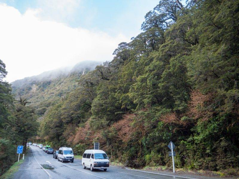 Road blocking at the Milford Highway