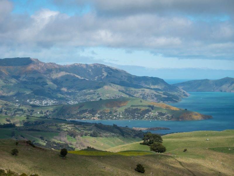 View on the bays of the Akaroa peninsula