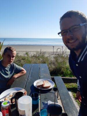 Breakfast near the beach