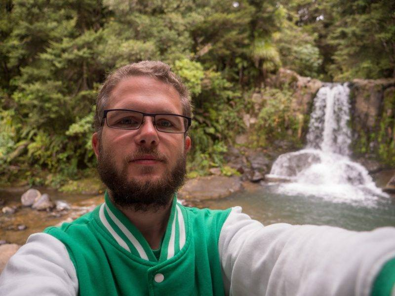 Selfie in front of the Waiau falls