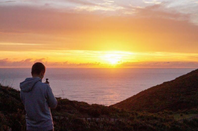 Philipp films the sundown at Cape Reinga