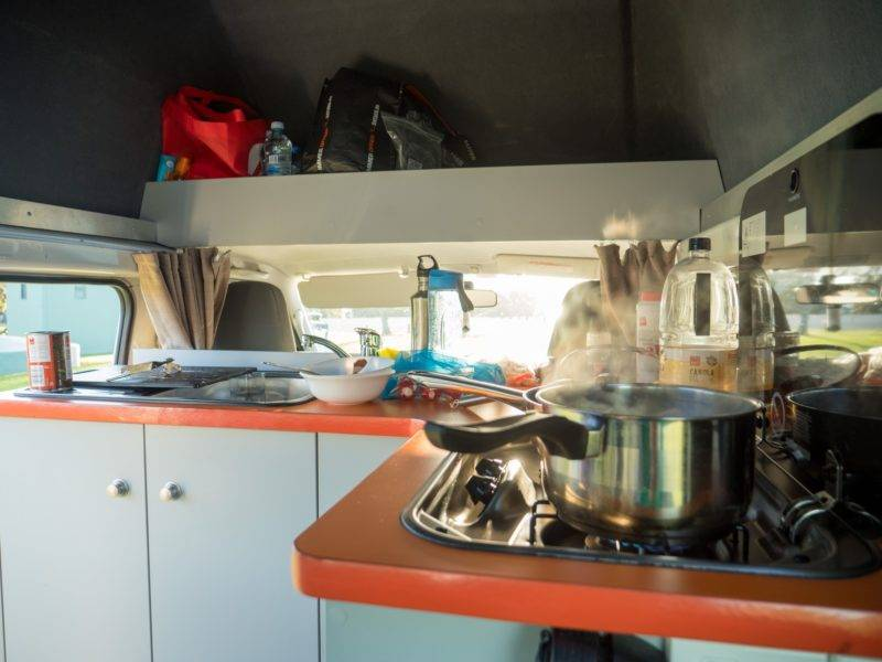 The camper kitchen in the Kuga