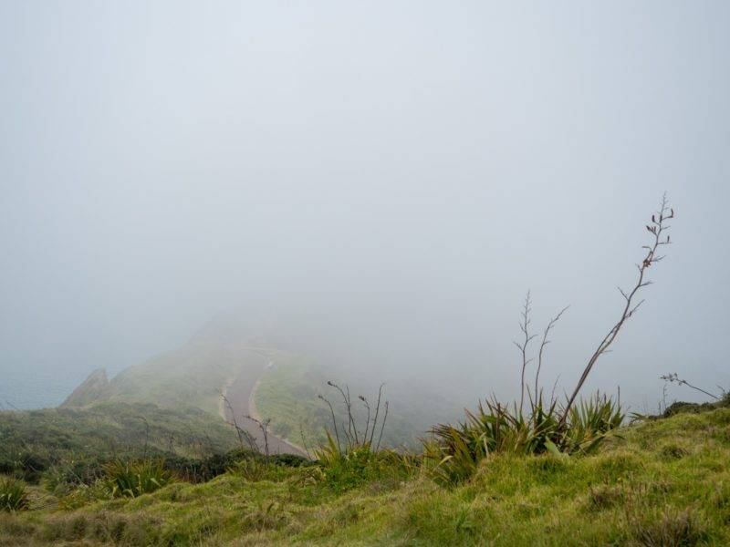 Cape Reinga with clouds and fog