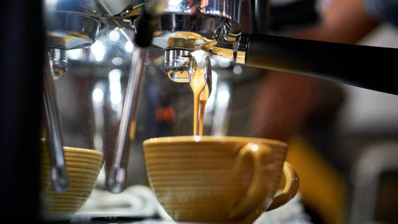 Closeup of a italian coffee machine in a cafe