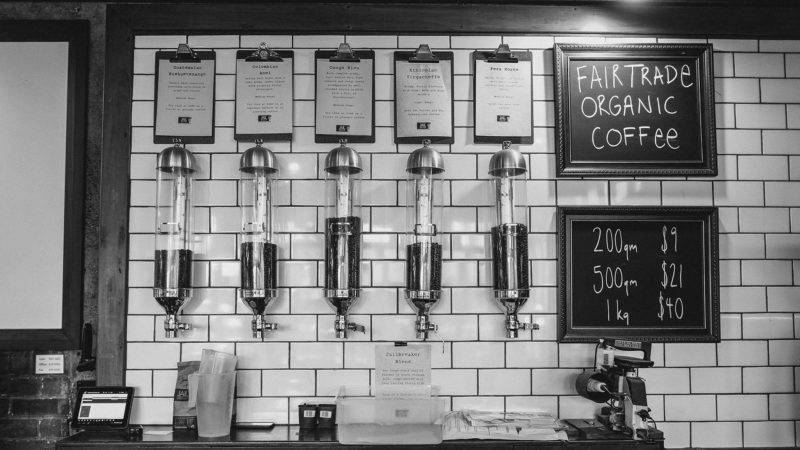 View in a Cafe with different coffee beans mounted to the wall