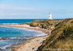 Waipapa lighthouse at the coast